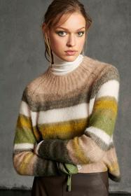 Stripe-Pullover aus Mohair-Mix, green