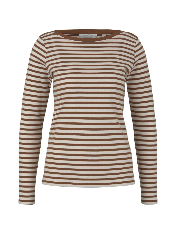 interlock with contrast neck, white brown stripe