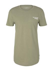 T-shirt with chestprint, silver olive melange
