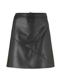 leather optic mini skirt, deep black