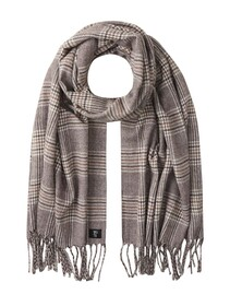 woven scarf, beige brown check
