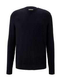 modern structured sweater, Knitted Navy Melange