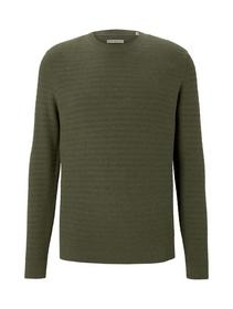 modern structured sweater, bleak green melange