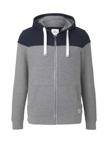 colorblock zipper jacket, Middle Grey Mélange