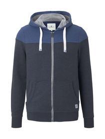 colorblock zipper jacket, after dark blue white melange