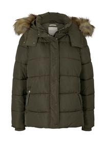 hooded puffer jacket, deep olive green