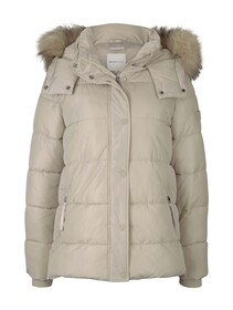 hooded puffer jacket, cold beige