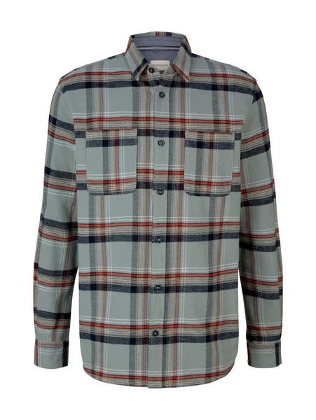 checked comfort shirt, ice blue base colorful check