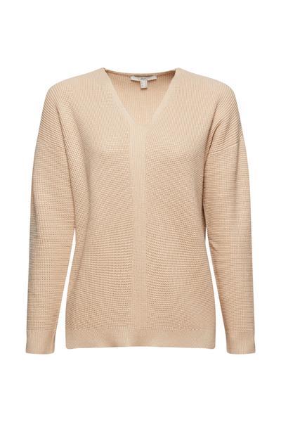 V-Neck-Pullover aus Perlstrick