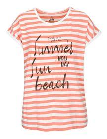 T-Shirt, gestreift, Frontprint