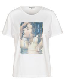 T-Shirt Front-Print - 103/BRIGHT WHITE