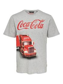 onsCOCA COLA XMAS REG TEE - 187191/Light Grey Mela