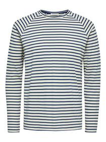 SLHTRON STRIPE LS O-NECK TEE W - 184859/Estate Blu