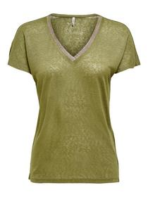 ONLRILEY S/S V-NECK GLITTER TOP JRS