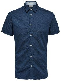 SLHSLIMANGLES SHIRT SS MIX W - 186284001/Dark Blue