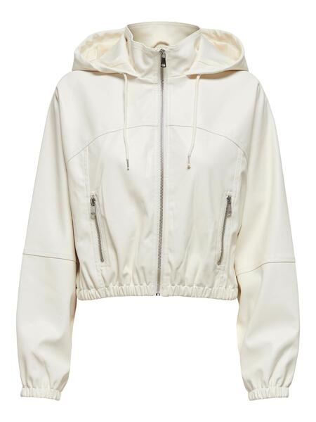 ONLMONICA FAUX LEATHER HOOD JACKET, White Alyssum