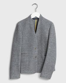 D1. BOILED WOOL SHORT JACKET, GREY MELANGE
