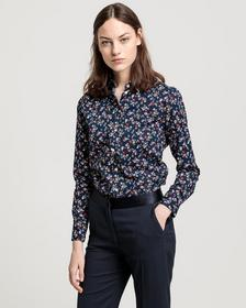 D1. SCRIBBLED FLORAL STRETCH SHIRT, EVENING BLUE
