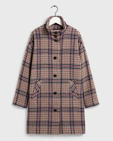 D1. CHECKED COCOON COAT, WARM KHAKI