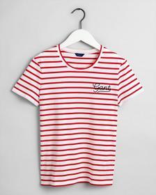 Logo T-Shirt mit Breton Streifen