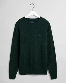 Lambswool Pullover mit Zopfmuster