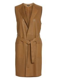 Leather Vest, long round neck patch