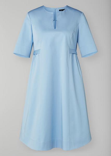 Dress, pleat detail, round neck, fr