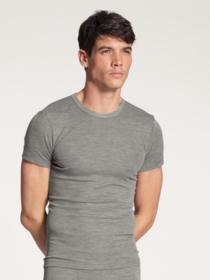 HERREN T-Shirt, platin melé