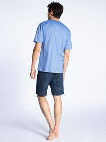 HERREN Pyjama kurz, bonnet blue