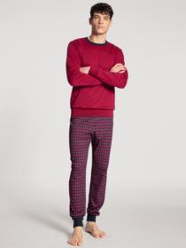 HERREN Pyjama mit Bündchen, rumba red