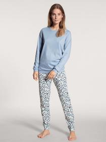 DAMEN Pyjama mit Bündchen, blue fog