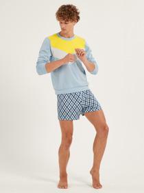 HERREN Shirt langarm, tempest blue