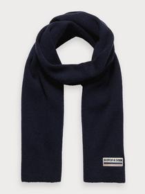 Classic rib knit scarf in soft wool - 0002/Night