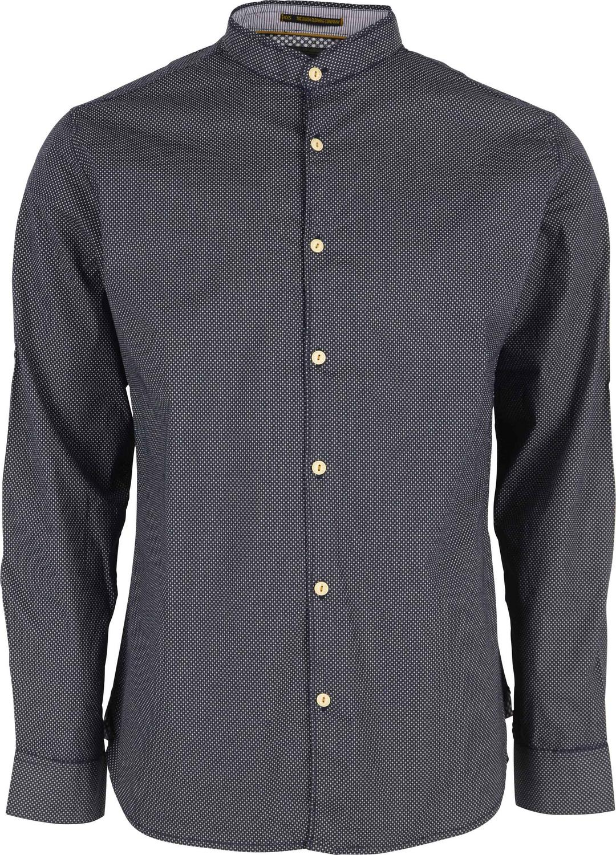Shirt, l/s, granddad, ao fancy printed stretch