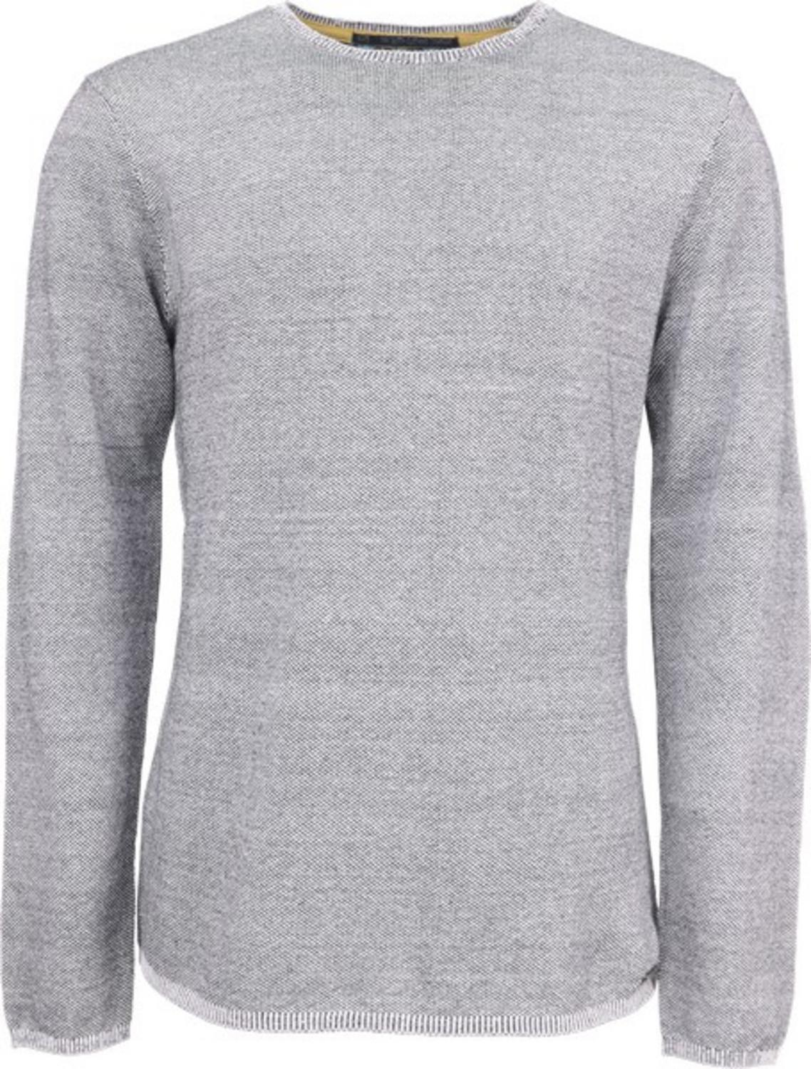 Pullover R-neck, high twisted 2col jacquard, fine