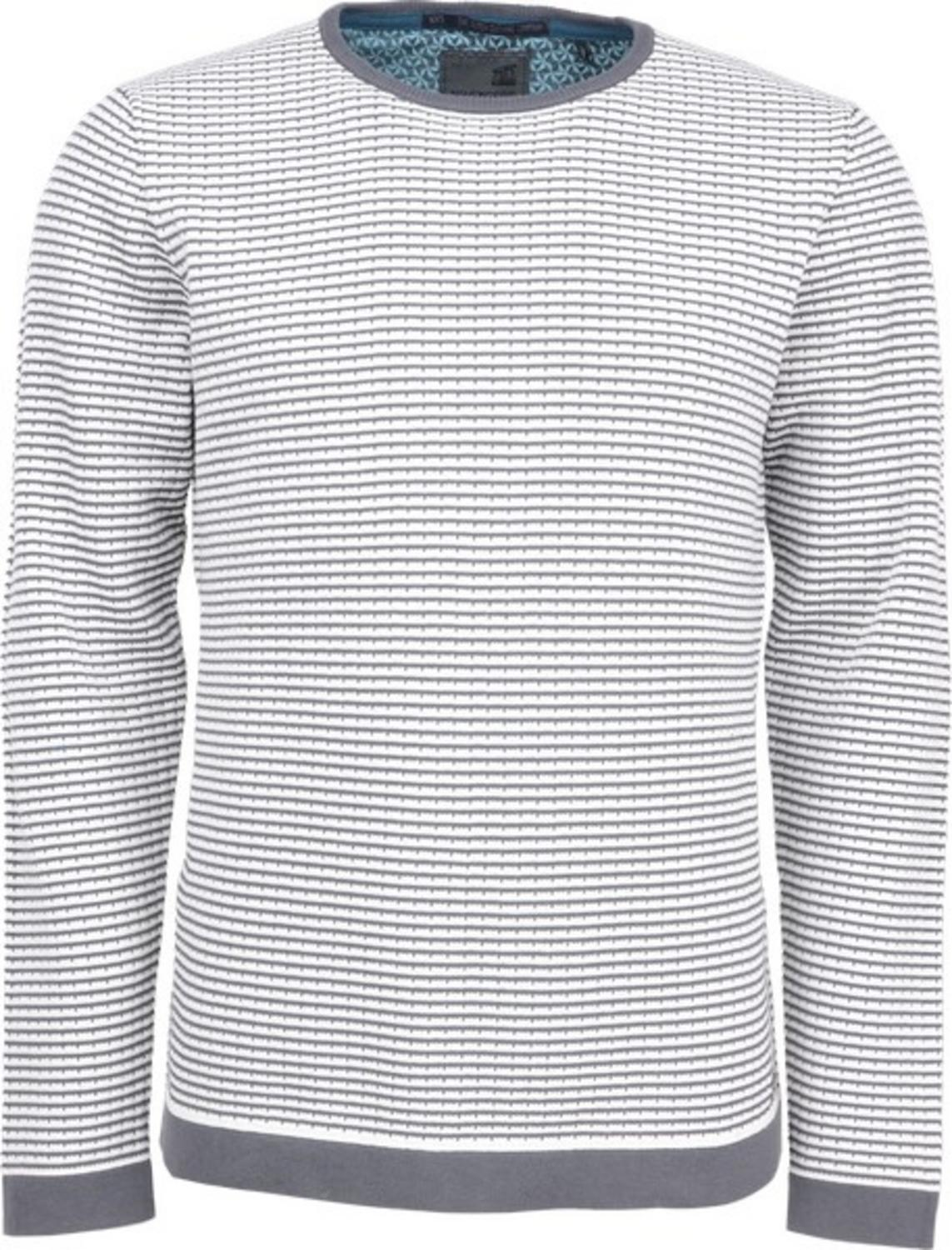 Pullover R-neck, high twisted 2 col jacquard fine