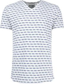 T-Shirt s/sl, V-neck, jacquard stripe