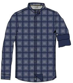Shirt, l/sl, granddad, allover print dots, stretch