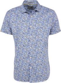 Shirt, s/sl, allover printed satin, stretch