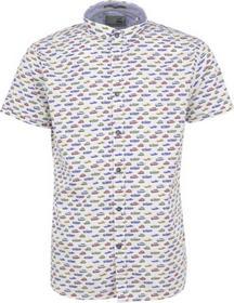 Shirt, s/sl, allover printed, stretch