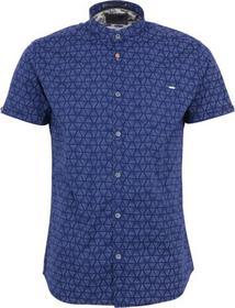 Shirt, s/sl, granddad, allover printed, stretch
