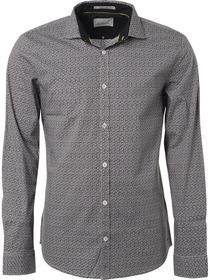 Shirt, l/sl, allover printed, stret