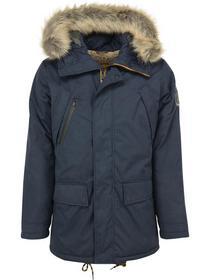Jacket, long fit, fur hooded parka