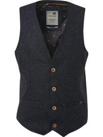 Gilet, melange tweed with wool