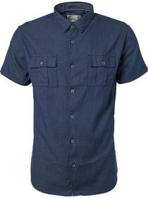 Shirt, s/sl, indigo dobby, stretch, chest pockets