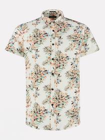 Shirt regular collar Painted Flower