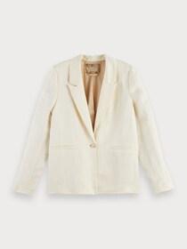 Soft drapey blazer in linen blend q