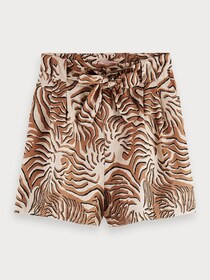 Printed linen shorts with belt