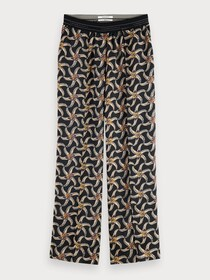 Printed wide leg pant with special
