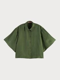 Short sleeve shirt in linen blend